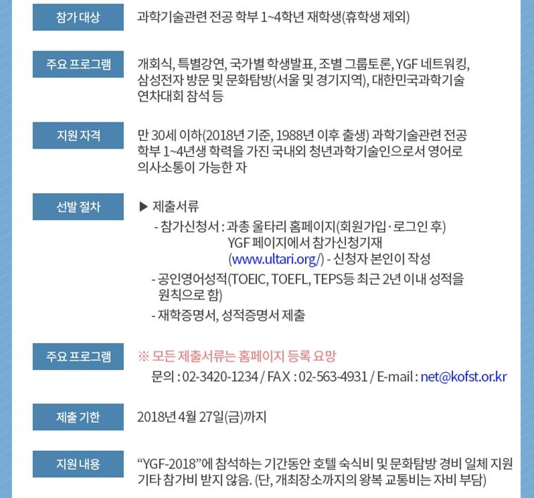 이미지 2:[한국과총]2018한민족청년과학도포럼(Young Generation Forum, YGF) 참가 지원신청 안내